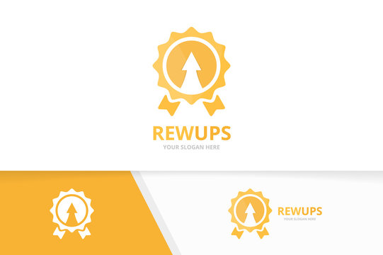 Vector reward and arrow up logo combination. Trophy and growth symbol or icon. Unique medal and upload logotype design template.