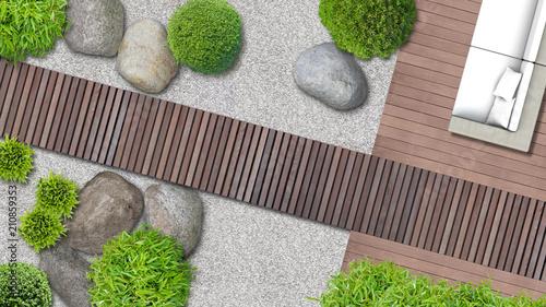 Minimalistischer japanischer Zen Garten mit Terrasse und Holzweg von ...