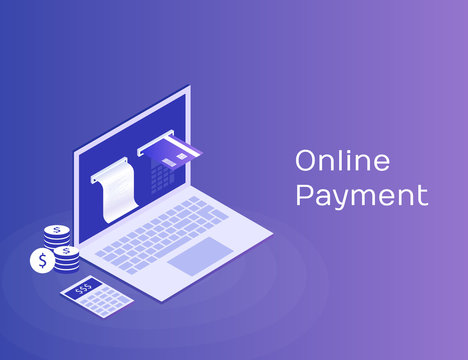 Concept of electronic bill and online bank, laptop with check tape and payment card. Modern 3d isometric vector illustration