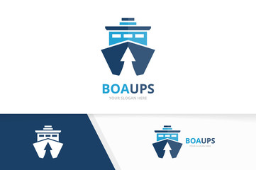 Vector ship and arrow up logo combination. Boat and growth symbol or icon. Unique yacht and upload logotype design template.
