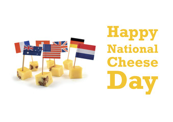 National Cheese Day illustration. Cheese cubes with flags. World Flag Toothpick images. Different types of flags. Flag decorations for party. American Cheese Day. Important day