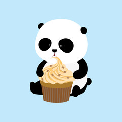 Vector Illustration: A cute cartoon giant panda is sitting on the ground, holding and eating a big mango flavor cupcake with cream and chocolate chips.