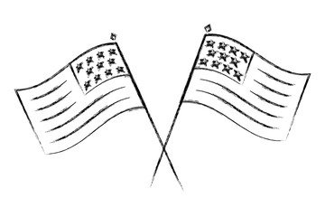 crossed flags united states symbol