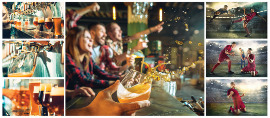 sport, people, leisure, friendship and entertainment concept - happy football fans or male friends drinking beer and celebrating victory at bar or pub