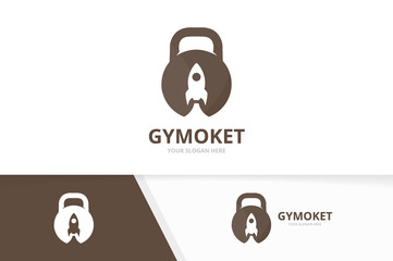 Vector sport and rocket logo combination. Gym and start up symbol or icon. Unique fitness and spaceship logotype design template.