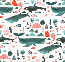 Hand drawn vector abstract cartoon graphic summer time underwater ocean bottom illustrations seamless pattern with coral reefs,beauty big whales,killer whale seaweeds isolated on white background