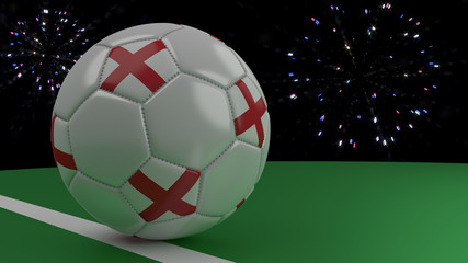 Soccer ball with the flag of England crosses the goal line under the salute, 3D rendering.