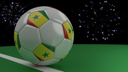 Soccer ball with the flag of Senegal crosses the goal line under the salute, 3D rendering.