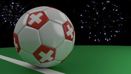 Soccer ball with the flag of Switzerland crosses the goal line under the salute, 3D rendering.