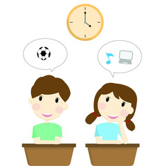 Two students are thinking about activities after school ,football ,music and computer in speech bubble.Vector illustration character design.