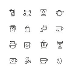 Tea and coffee icons. Set of  line icons. Tea cup, coffee bean, teapot. Beverage concept. Vector illustration can be used for topics like drinks, kitchen equipment, cafe