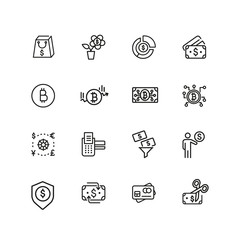 Currency icons. Set of  line icons. Credit card, bitcoin, shopping. Finance concept. Vector illustration can be used for topics like business, banking, economics