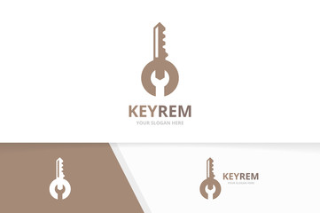 Vector key and repair logo combination. Lock and fix symbol or icon. Unique house and service logotype design template.