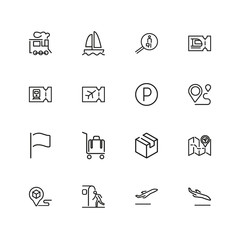 Travel icons. Set of  line icons. Luggage, destination, tourist. Trip concept. Vector illustration can be used for topics like tourism, transportation, vacation