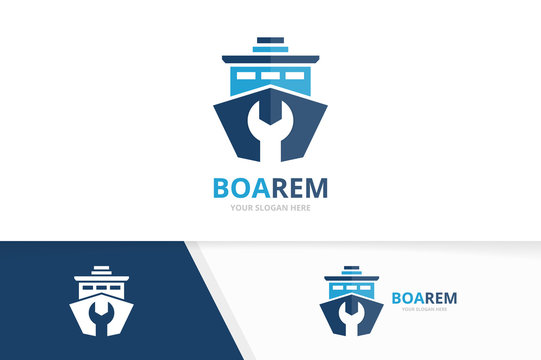 Vector ship and repair logo combination. Boat and fix symbol or icon. Unique yacht and service logotype design template.