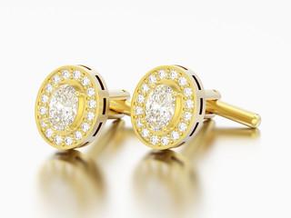 3D illustration two gold diamond cufflinks stud