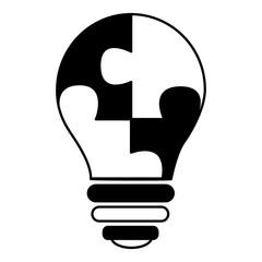 business bulb idea with puzzle parts