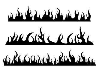 Burning fire flame silhouette set banner horizontal design isolated on white