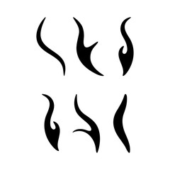 cartoon fire sparks silhouette set design isolated on white