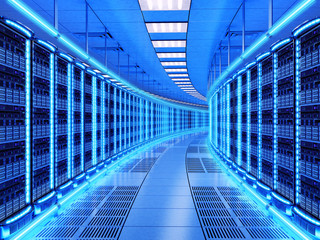 Network and internet communication technology concept, data center interior, server racks with telecommunication equipment in server room