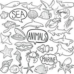 Sea Animals Wildlife Doodle Icon Hand Draw Line Art