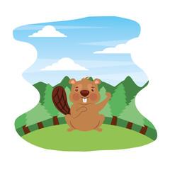 cute beaver in forest landscape