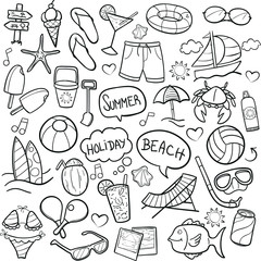 Summer Beach Day Doodle Icon Hand Draw Line Art
