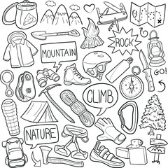 Climb Sport Mountain Doodle Icon Hand Draw Line Art