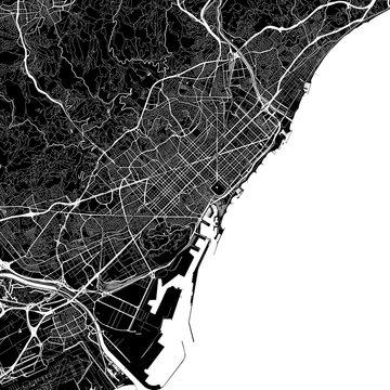 Area map of Barcelona, Spain