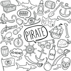 Pirate Adventure Costume  Doodle Icon Hand Draw Line Art