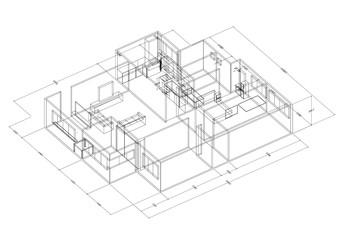 Apartment Design Architect Blueprint - isolated