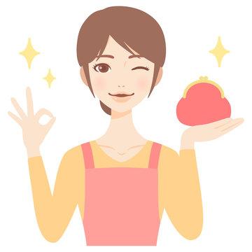 がま口財布を持つやりくり上手な若い主婦 エプロン 美人 フラット イラスト