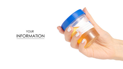 Plastic container with urine in hand analysis pattern on white background isolation