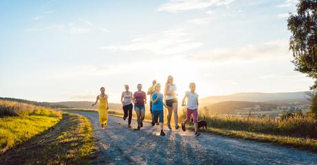 Familie hat Spaß im Sommer und spielt auf Feldweg im Gegenlicht