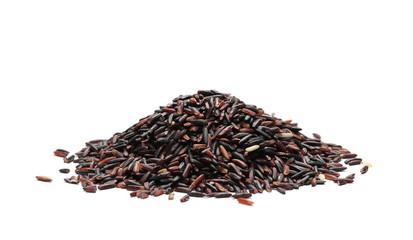 Black rice isolated on white background
