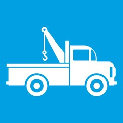 Car towing truck icon white isolated on blue background vector illustration
