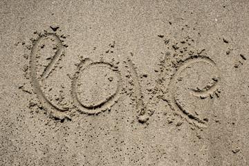 inscription on sand near sea and waves. Love