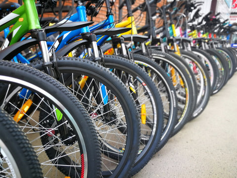 Bicycle shop, rows of new bikes