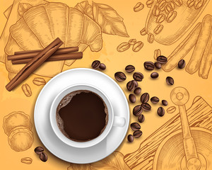 Vector 3d realistic coffee cup with cinnamon, beans on vintage hand drawn illustration with grinder, croissant. Breakfast concept. Beverage menu for restaurant, background