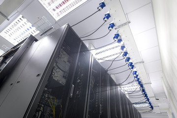Interior of Data Center. Server Computer. Super Computer.