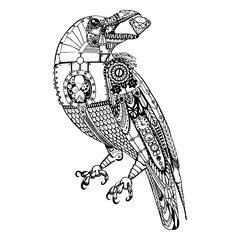 Steampunk illustration. Raven with diamond, graphic design. Vector illustration, isolated objects.