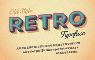 Colorful italic retro font and alphabet 80s, 90s. Fototapete