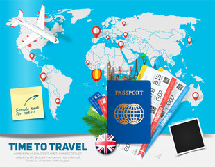 Banner concept for travel and tourism with passport, tickets and famous landmarks in flat style with map on background.