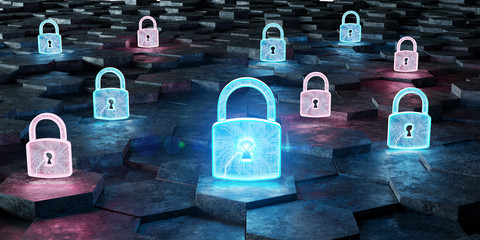 Black blue and pink padlock icon on hexagons background 3D rendering