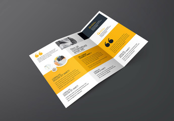 Trifold Brochure Layout with Yellow Elements