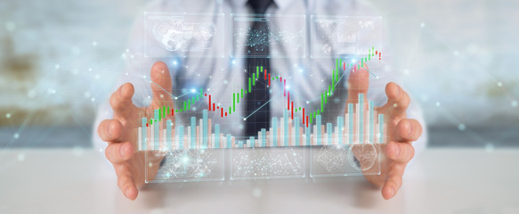 Businessman using 3D rendering stock exchange datas and charts