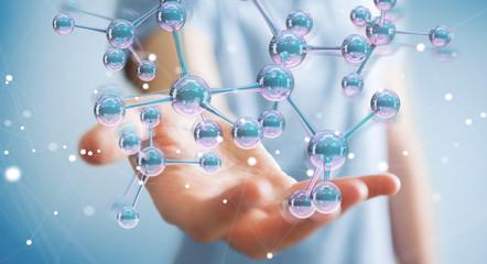 Businessman using modern molecule structure 3D rendering