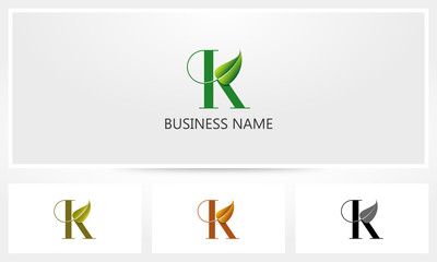 Letter K Leaf Sprout Logo
