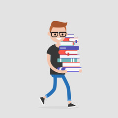 Education. Exam preparation. Smiling student holding a pile of books. Flat editable vector illustration, clip art