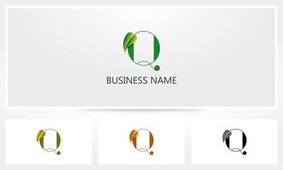 Letter Q Leaf Sprout Logo